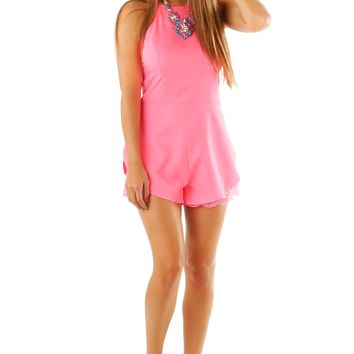 In A Small Town Romper: Neon Pink