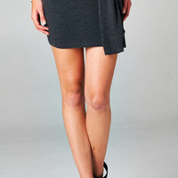 SWEATSHIRT SKIRT WITH TIE WAIST - GREY