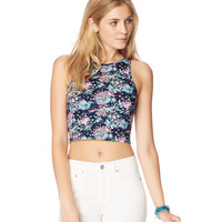 Womens Map To Mars Floral High-Neck Crop Tank Top - Blue