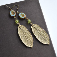 Imprint Leaf Earrings, Long Bohemian Earrings, Leaf With Beads Jewelry