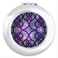 Fantasy Purple Tatting Lace Night Sky Compact Mirror