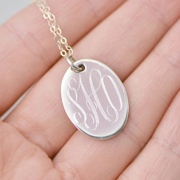 Christmas In July Monogramed Silver Pendant w/ giftbox - Personalized Jewelry - Oval Monogram Pendant - Personalized Necklace - Monogram