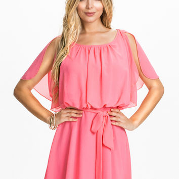CHIFFON ANGEL TIE UP DETAIL DRESS