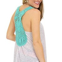 Crochet Back Tank, Mint :: NEW ARRIVALS :: The Blue Door Boutique
