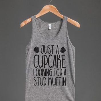 Cupcake Looking for A Stud Muffin-Unisex Athletic Grey Tank