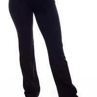 Basic Fold Over Contrast Waistband Yoga Pants - Pink