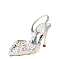 Crystal Embellish Metallic Leather Heel Slingback by Rene Caovilla at Gilt