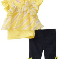 Little Lass Baby-girls Infant 2 Piece Cropped Diagonal Stripe Legging Set