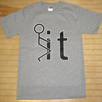 Printed Unisex T Shirt F**k It Stick Figure