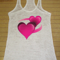 Burnout Racerback Tank Top Emoji Hearts