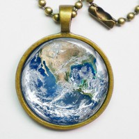 Planet Necklace - The Earth - Blue Marble Earth - Galaxy Series | Luulla