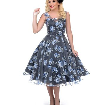 Pre-Order - Unique Vintage High Society Blue Floral Swing Dress - New Arrivals!