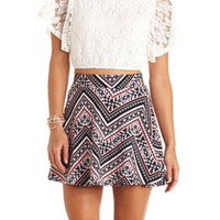 HIGH-WAISTED PRINTED CHEVRON SKATER SKIRT