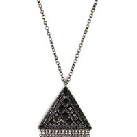 Long Necklace with Stone Triangle and Fringe