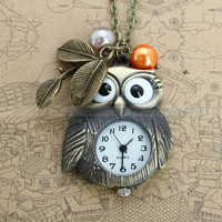 Pocket watchowl necklace with antique bronze owl design by mosnos
