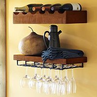 Rustic Wood Entertaining Shelves