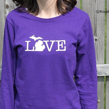 Michigan Love Shirt, Long Sleeve Michigan Shirt, Mitten Shirt, Womens