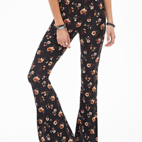 FOREVER 21 Floral Foliage Wide-Leg Pants Black/Brown