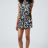MONO FLORAL SHIRT PLAYSUIT