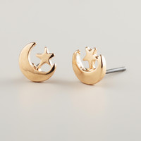 Gold Moon and Star Stud Earrings - World Market