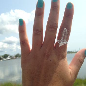Crystal Quartz point wire wrapped ring