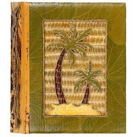 All Natural 80 Photo Handmade Photo Album - Two Palm Trees Design