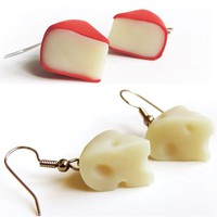 Swiss or Gouda Cheese Dangle Earrings