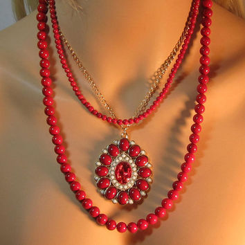 Red Riverstone Focal Multi Strand Cluster Statement Pendant Necklace