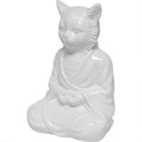 Zen Cat Statue - White
