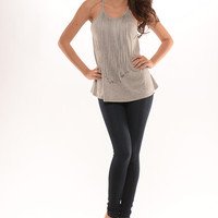 Spaghetti Halter Back Fringe Top - Heather Grey
