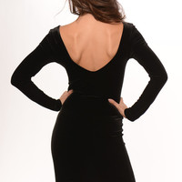 Black Long Sleeve Velvet V Back Dress | Fashion Nova