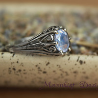 Victorian Filigree Lavender Moon Quartz Engagement Ring or Promise Ring in Sterling Silver