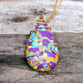 Hippie Jewelry -Tie Dye Necklace - Wire Wrapped Pendant - Bohemian Jewelry from Hawaii - Boho Gypsy Necklace - Boho Jewelry Hippie Necklace