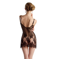 Dentelle slip - black French lace slip, sheer and sexy striped floral chemise with silk bow, luxury lingerie layering, lace dress