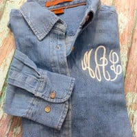 Denim Button- Up Chambray Shirt- Monogrammed