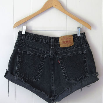 Vintage 90s Levi's Black High Waisted Cut Off Denim Shorts Jean Cuffed 31""