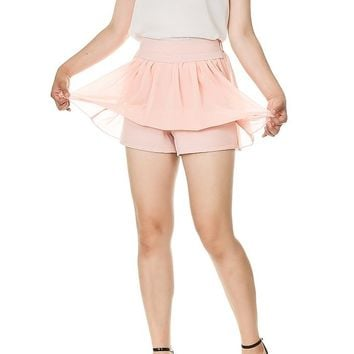 Pastel Color Chiffon Full Mini Skirt With Shorts