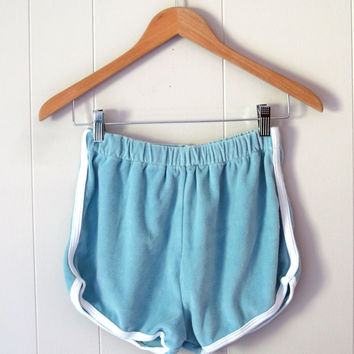 Vintage 80s High Waist Running Gym Tennis Blue Velour Cloth Soft Shorts