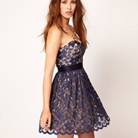 Elise Ryan | Elise Ryan Sweetheart Bandeau Lace Skater Dress at ASOS