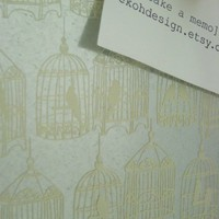BIRDCAGES in Cream   Steel Memo/Magnet/Dry Erase by ekohdesign