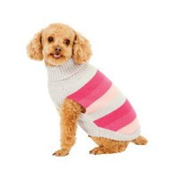Fashion Pet Pink Best in Stripe Dog Sweater Small
