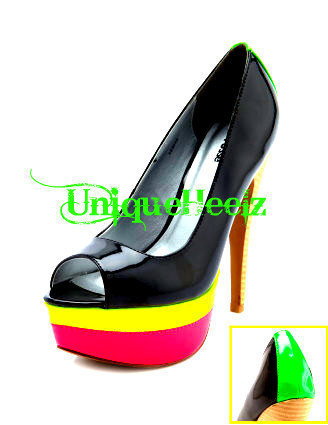 Swarovski Crystal Multi Neon Toe Pump Size 8 FREE by UniqueHeelz