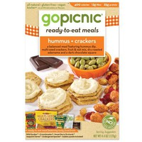 GoPicnic Ready-to-Eat Meals, Hummus + Crackers, 4.4-Ounce Boxes (Pack of 6)