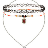 Pack of Three Flower Charm Tattoo Chokers - Orange