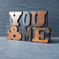 YOUandME Vintage Letterpress Words by HandmadeByAlison on Etsy
