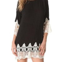 Muperio Women's Scoop Neck Long Sleeves Floral Lace Fitted Party Bodycon Dress