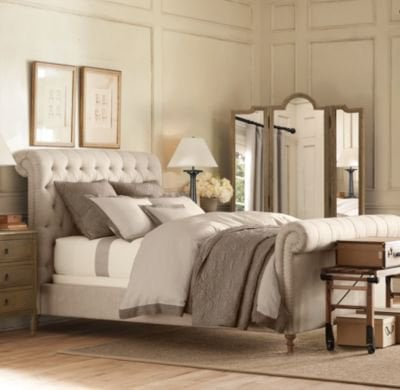 Chesterfield upholstered sleigh bed from restoration hardware Master bedroom bed linens
