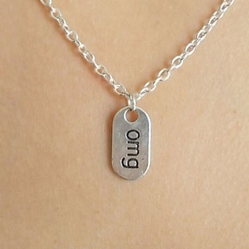 silver omg necklace handmade necklace word necklace fashion jewellery phrase necklace silver necklace word tag necklace omg charm necklace