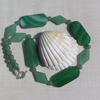 "Crystal Gemstone Statement Necklace - Green Aventurine & Green Agate  ""Wild Willow"""