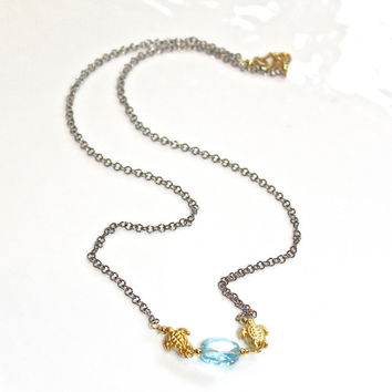 Sky Blue Topaz Necklace Gold Turtle Necklace Mixed Metal Jewelry Fun Jewelry Delicate Necklace Everyday Necklace Simple Jewelry Minimalist